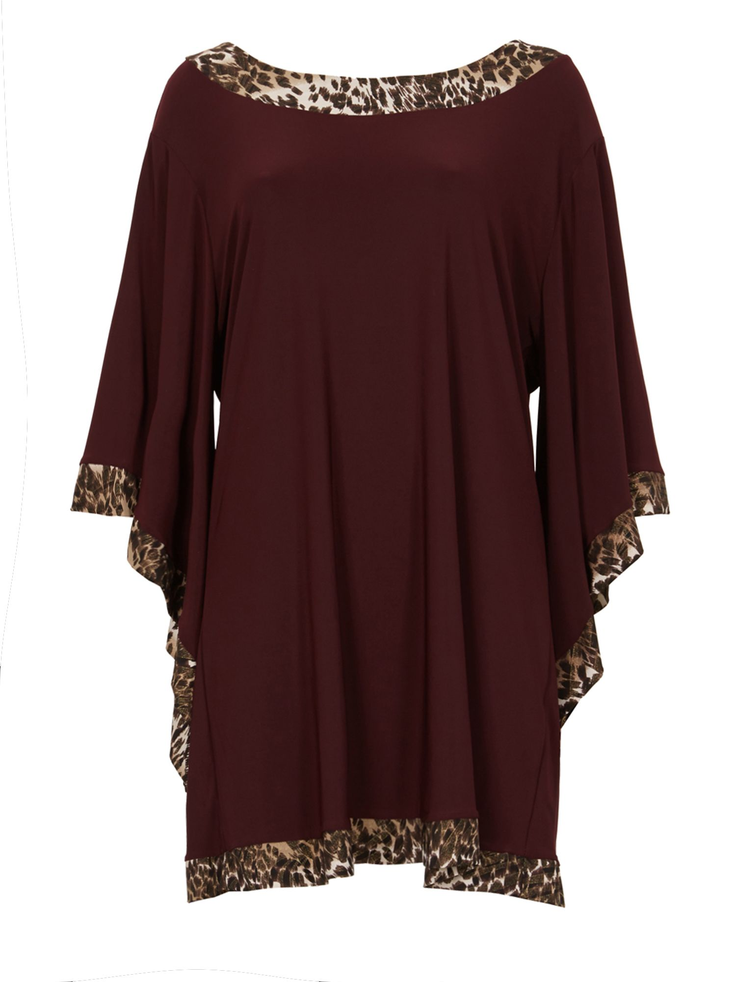 Feverfish Flared Sleeve Print Contrast Tunic, Red