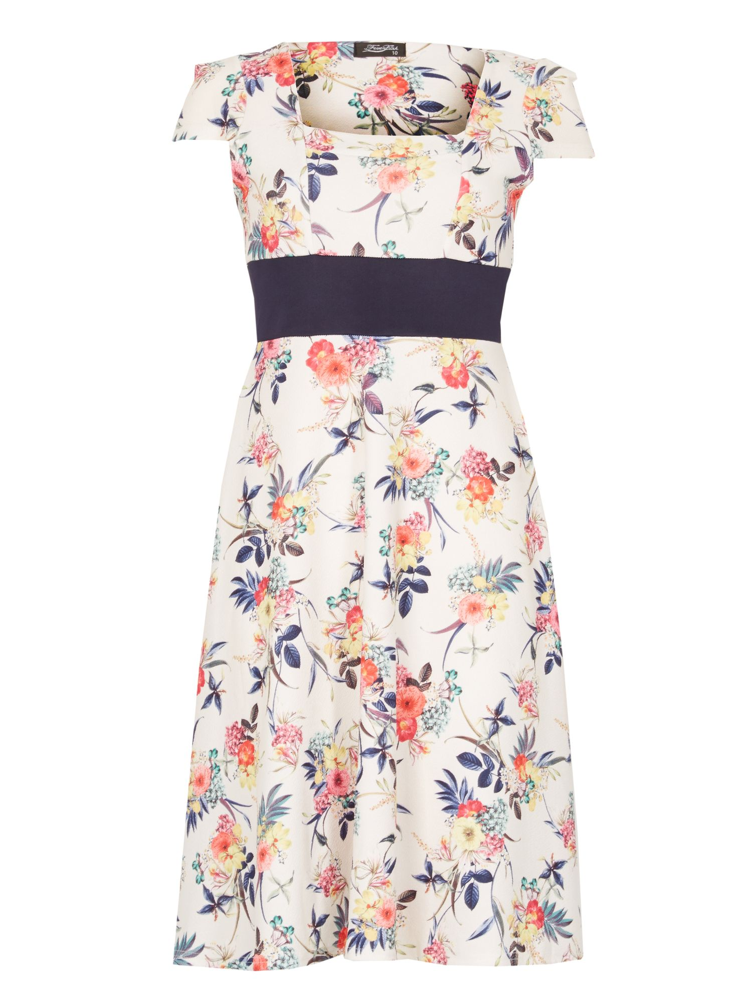 Feverfish Contrast Flower Print Flared Dress, Cream