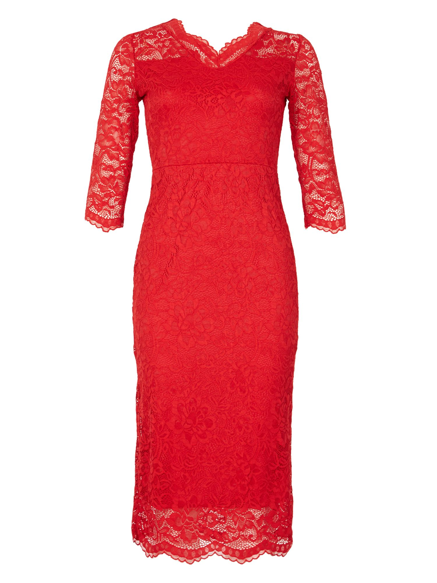 Feverfish Lace Scallop V Neck Dress, Red