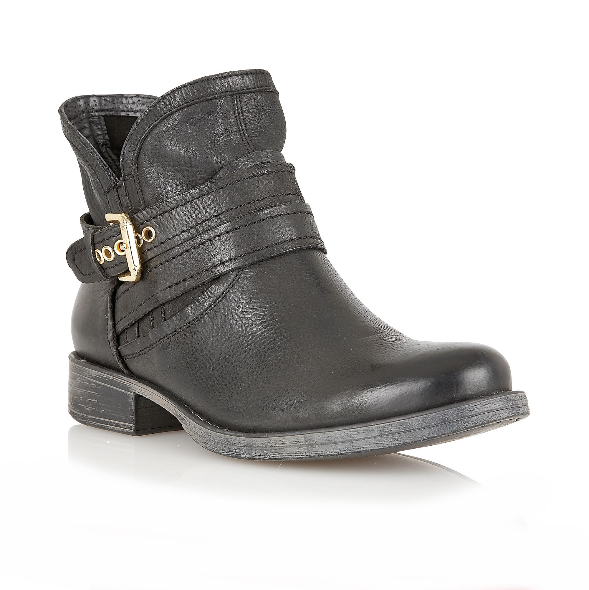 Anneka leather round toe buckle boots