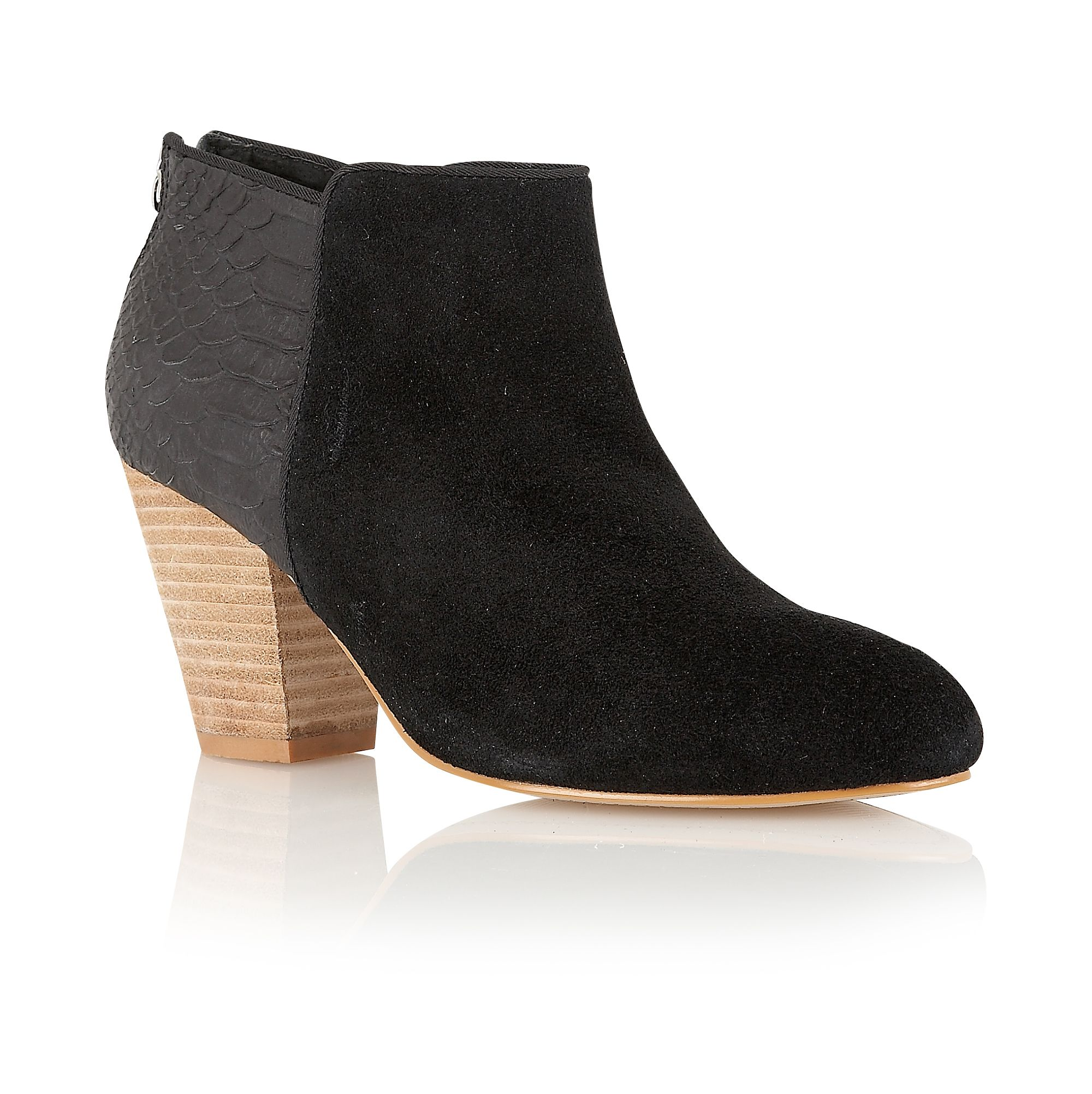 Windflower suede round toe slip on boots