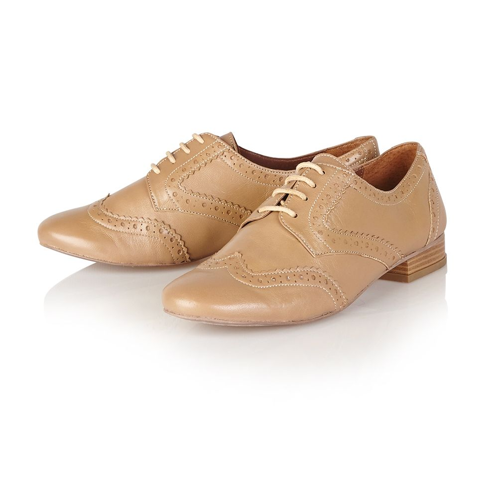 Fern leather almond toe flat lace up shoes