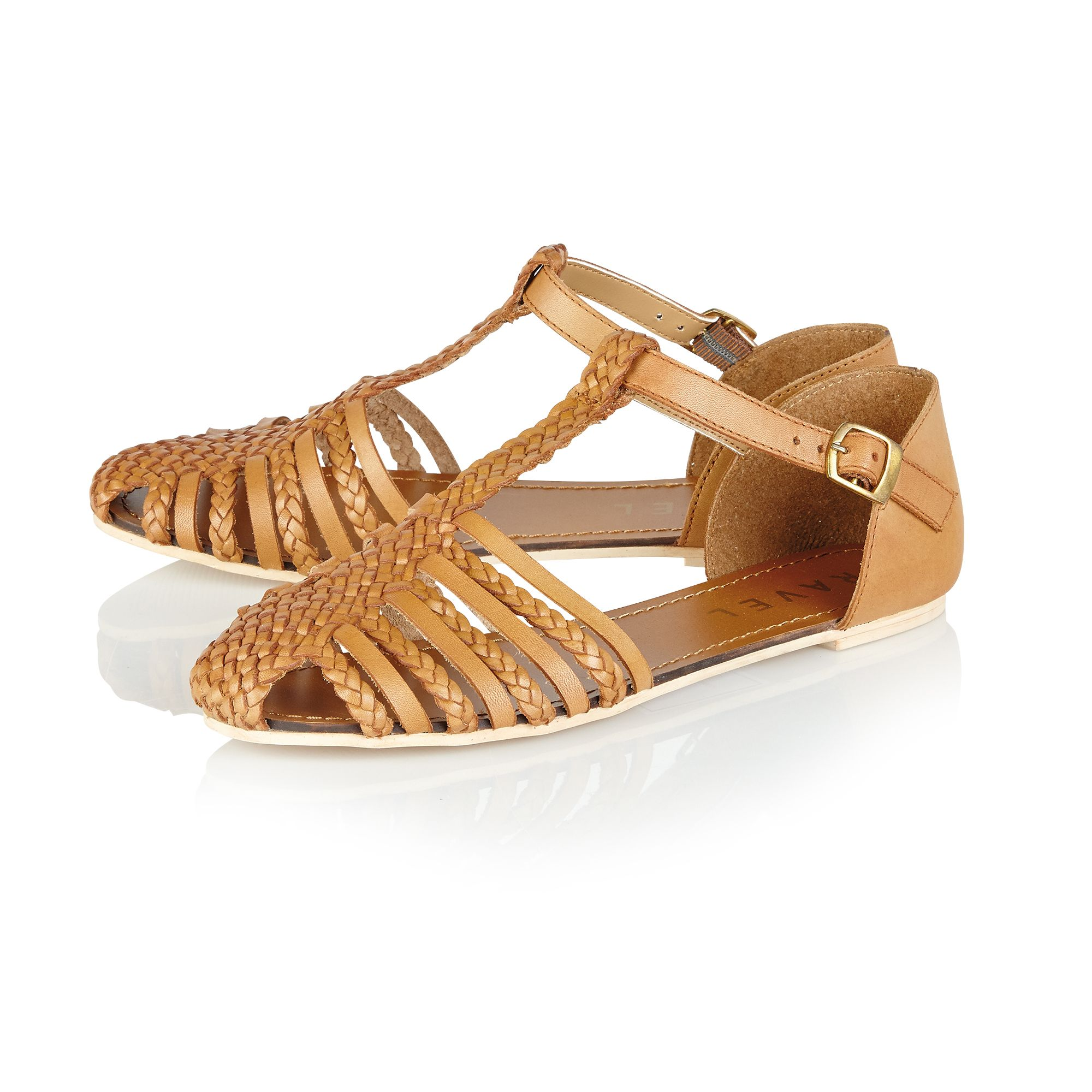 Primrose leather round toe buckle sandals