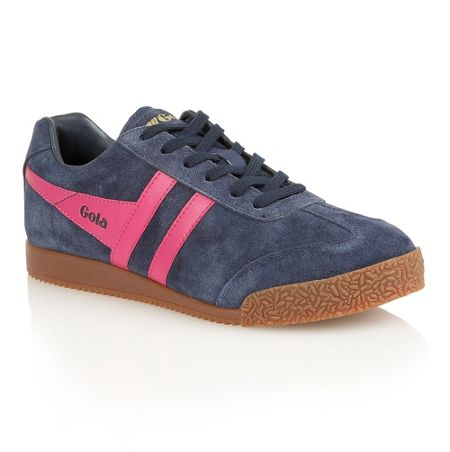 Gola Harrier suede navy/fuchsia trainers