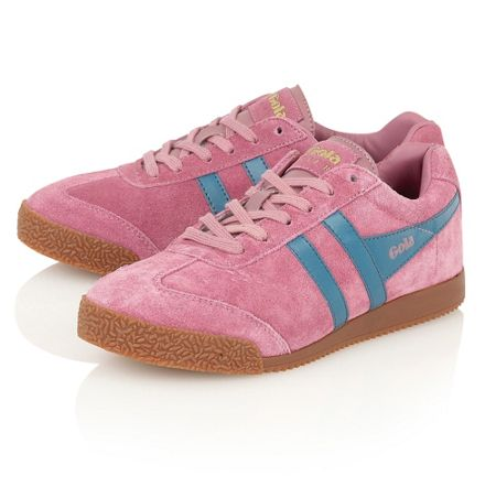 Gola Harrier suede dusky pink/teal trainers