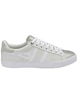 Orchid metallic lace up trainers