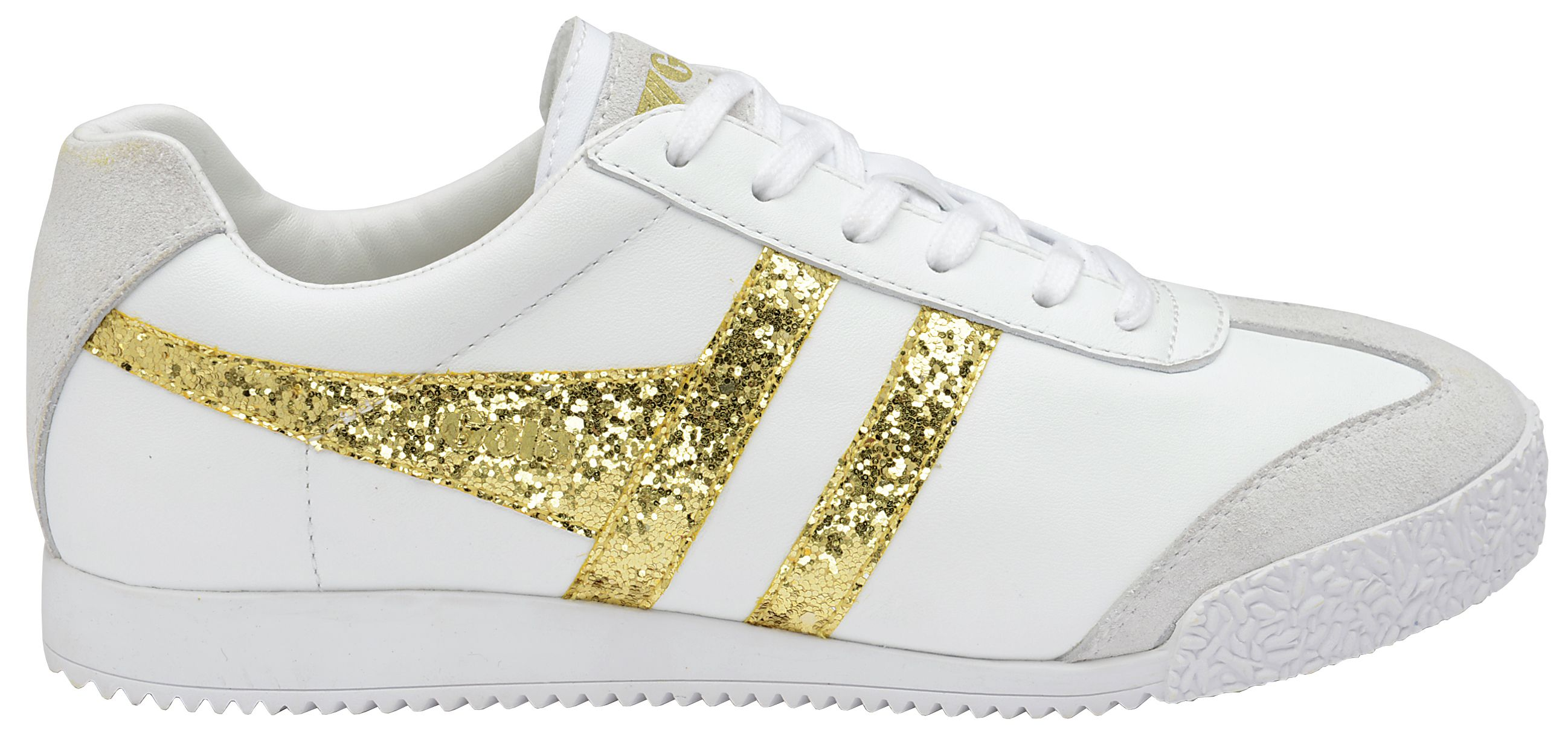 Gola Gola Harrier glitter lace up trainers, White Gold