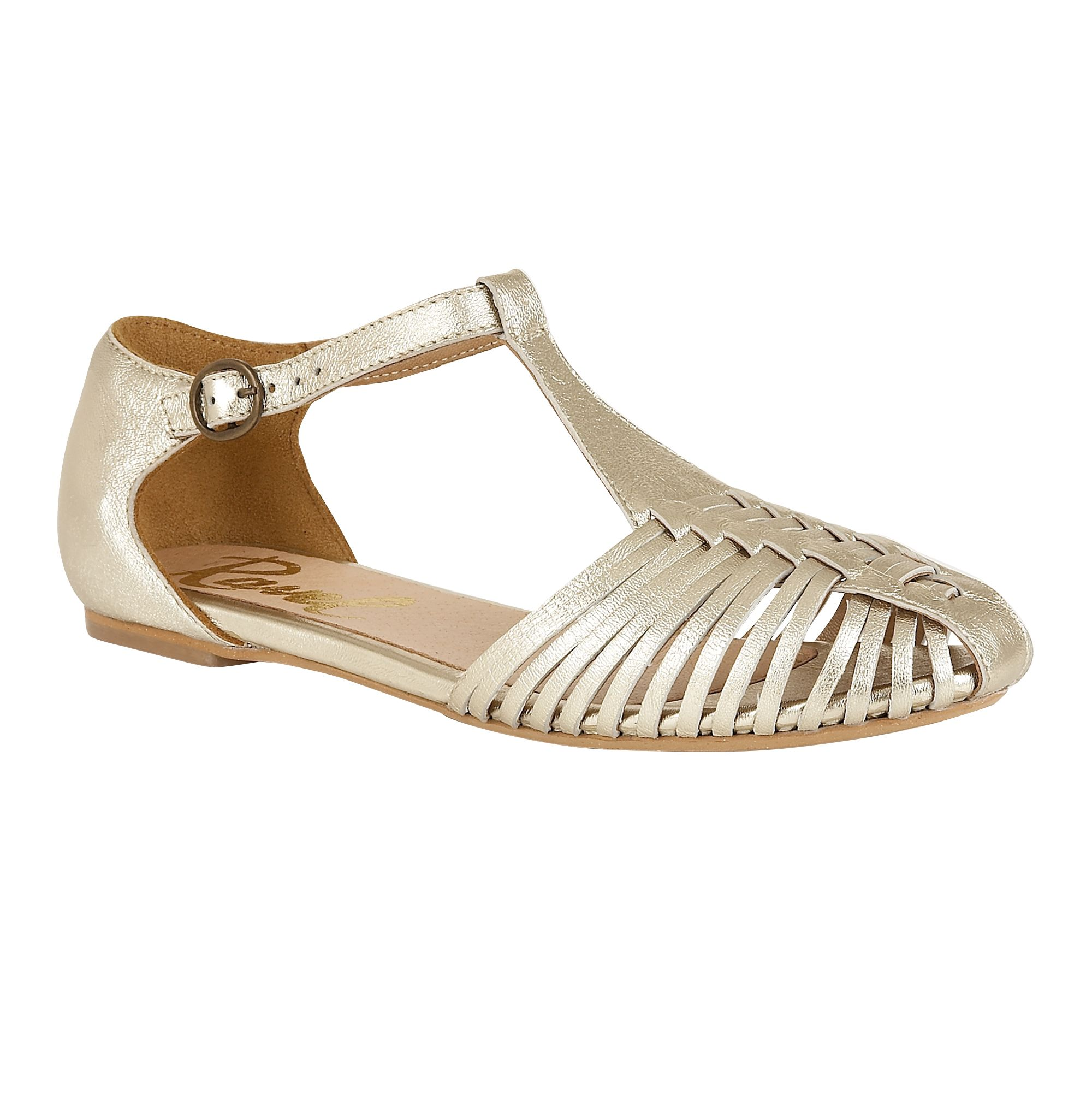 Ladies Soft Leather T Bar Shoes Flat With Velcro Fastening