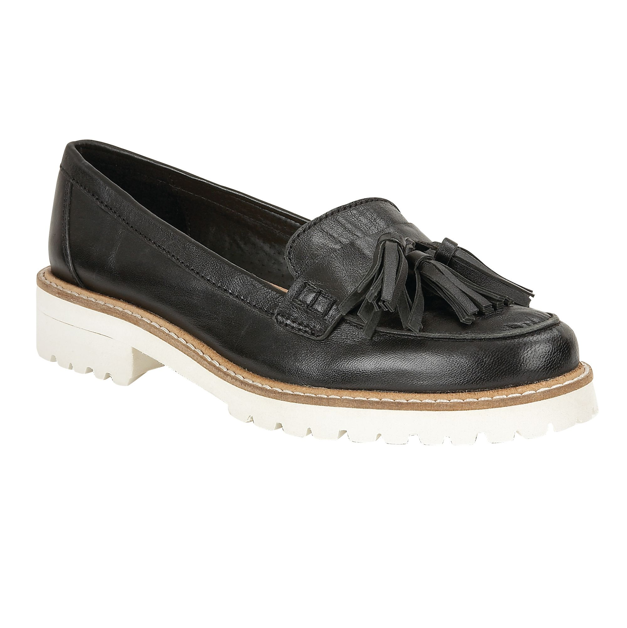 Ravel Ravel Midway cleated sole slip on loafers, Black Leather