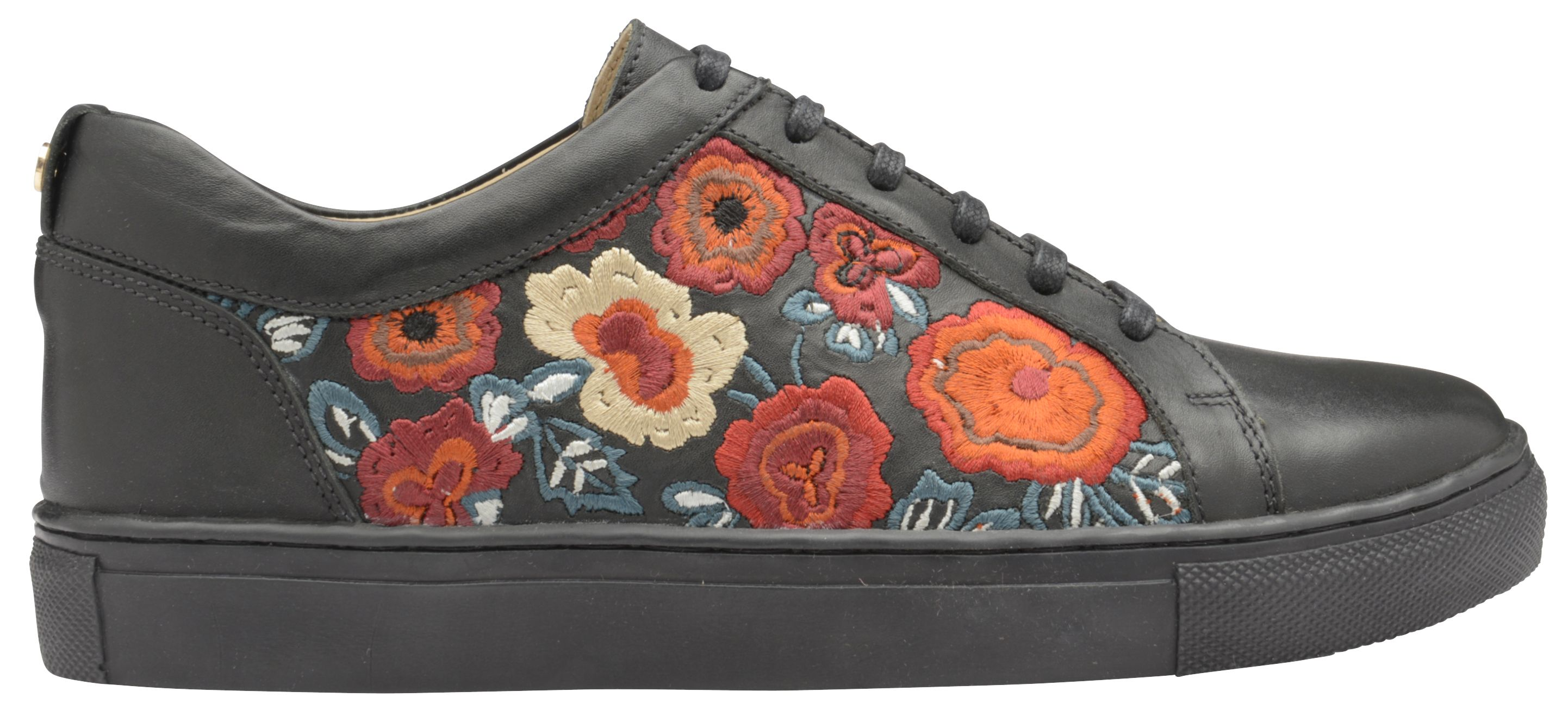 Ravel Garo Lace Up Floral Trainers, Black