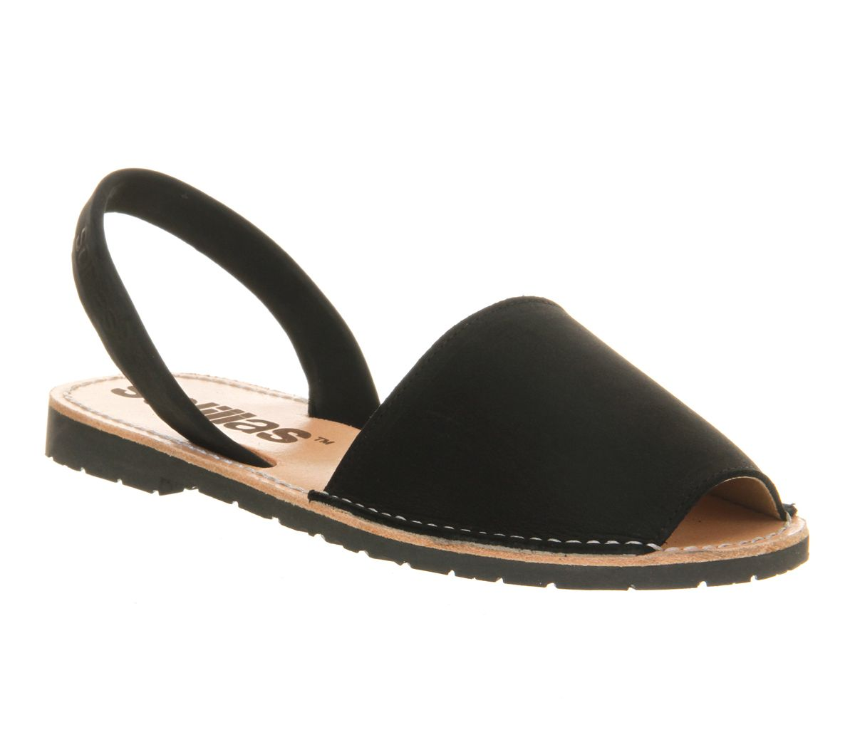 Solillas 2 part sandals, Black