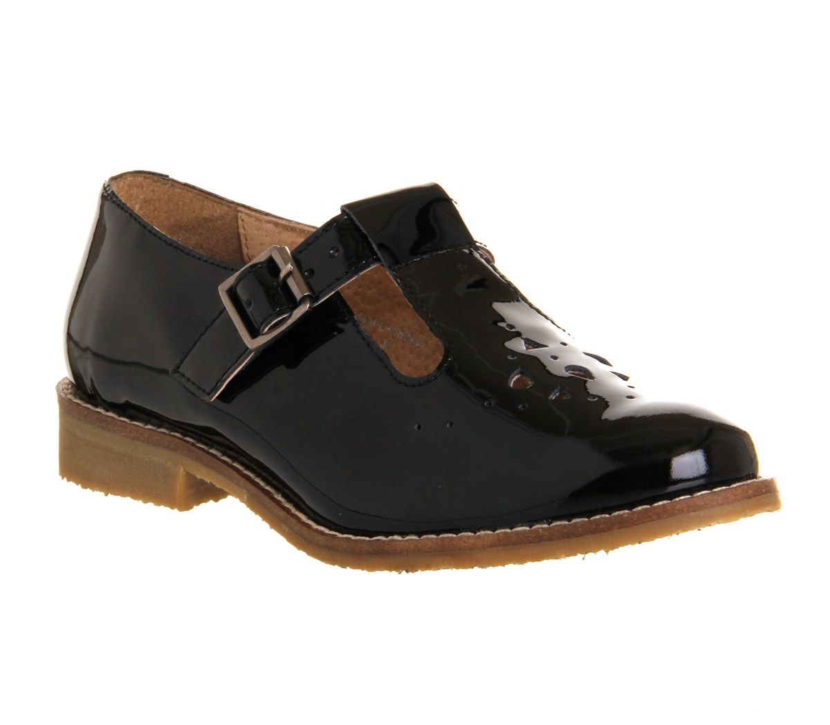 Kahlo leather round toe flat buckle shoes