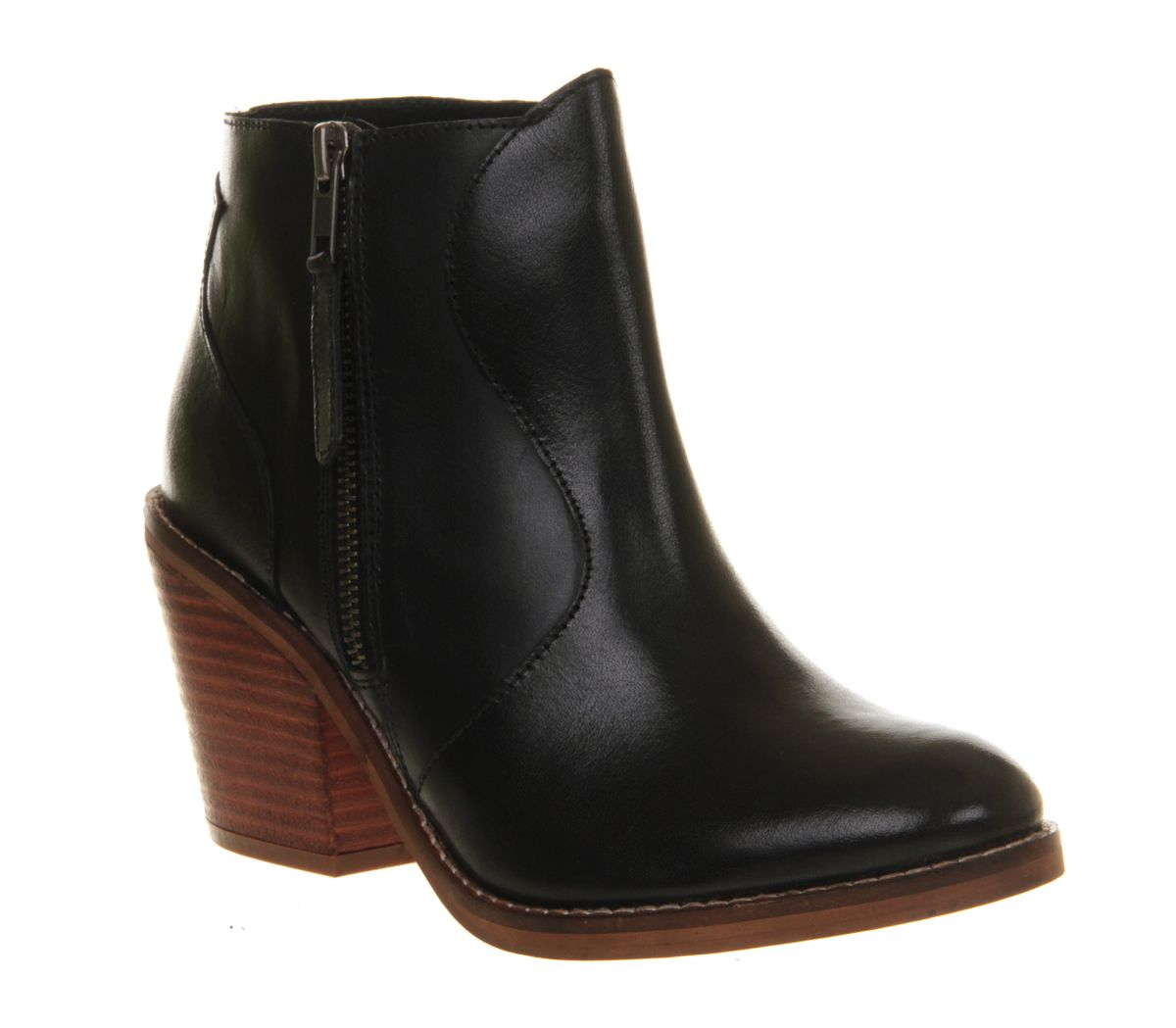 Mission leather almond toe block heel zip boots