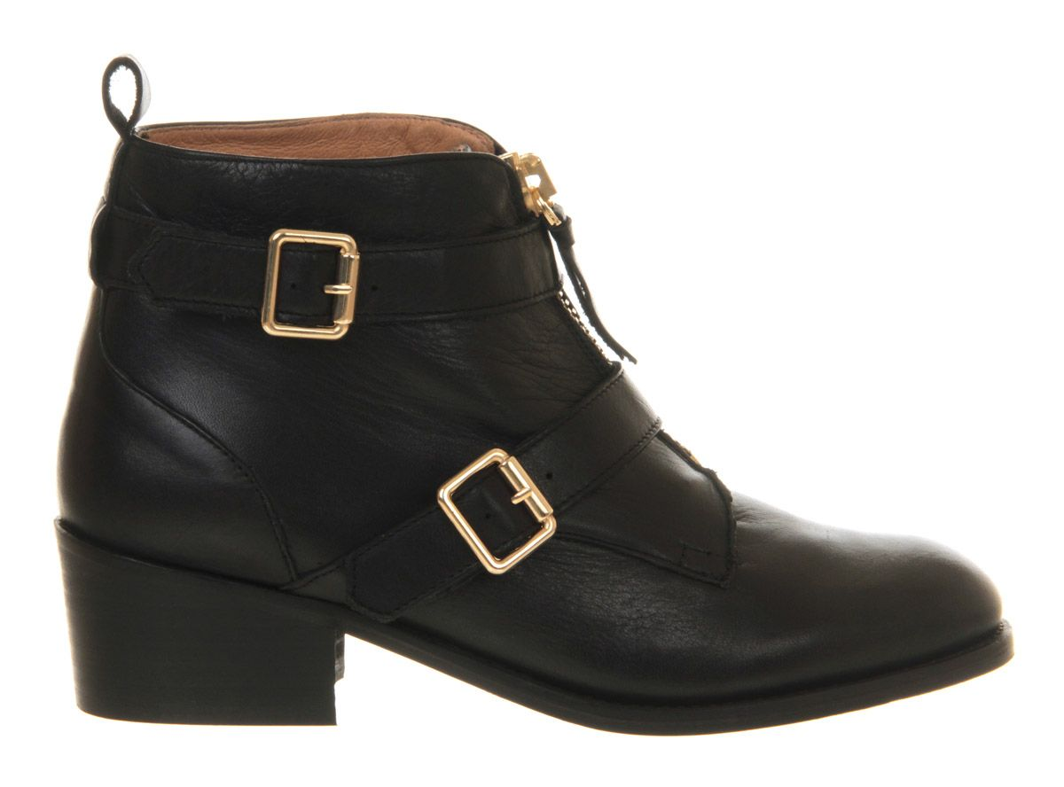 Billy leather almond toe block heel zip boots