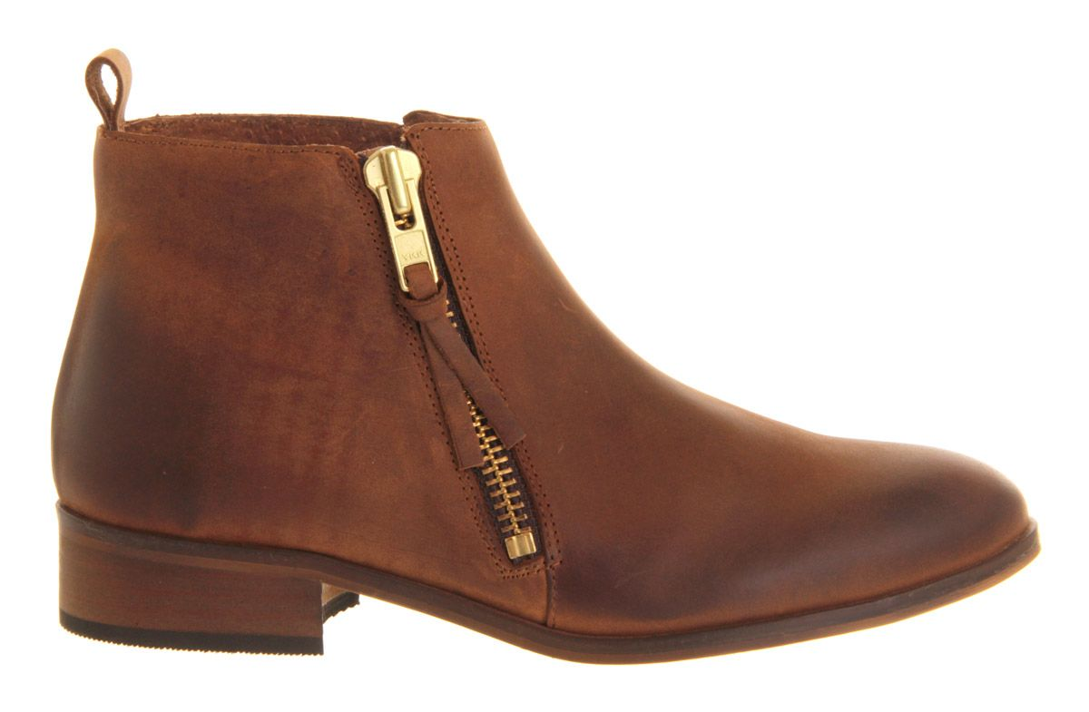 Mambo leather almond toe flat zip boots