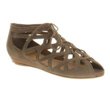 Arabian nights open toe wedge lace up shoes