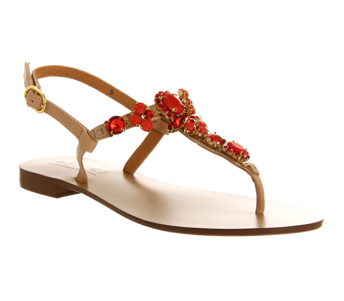 Harmony leather flat buckle sandals