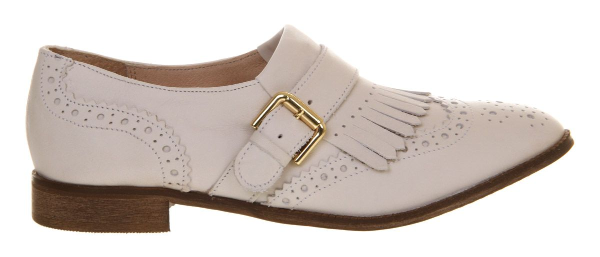 Koncave leather round toe flat buckle brogues