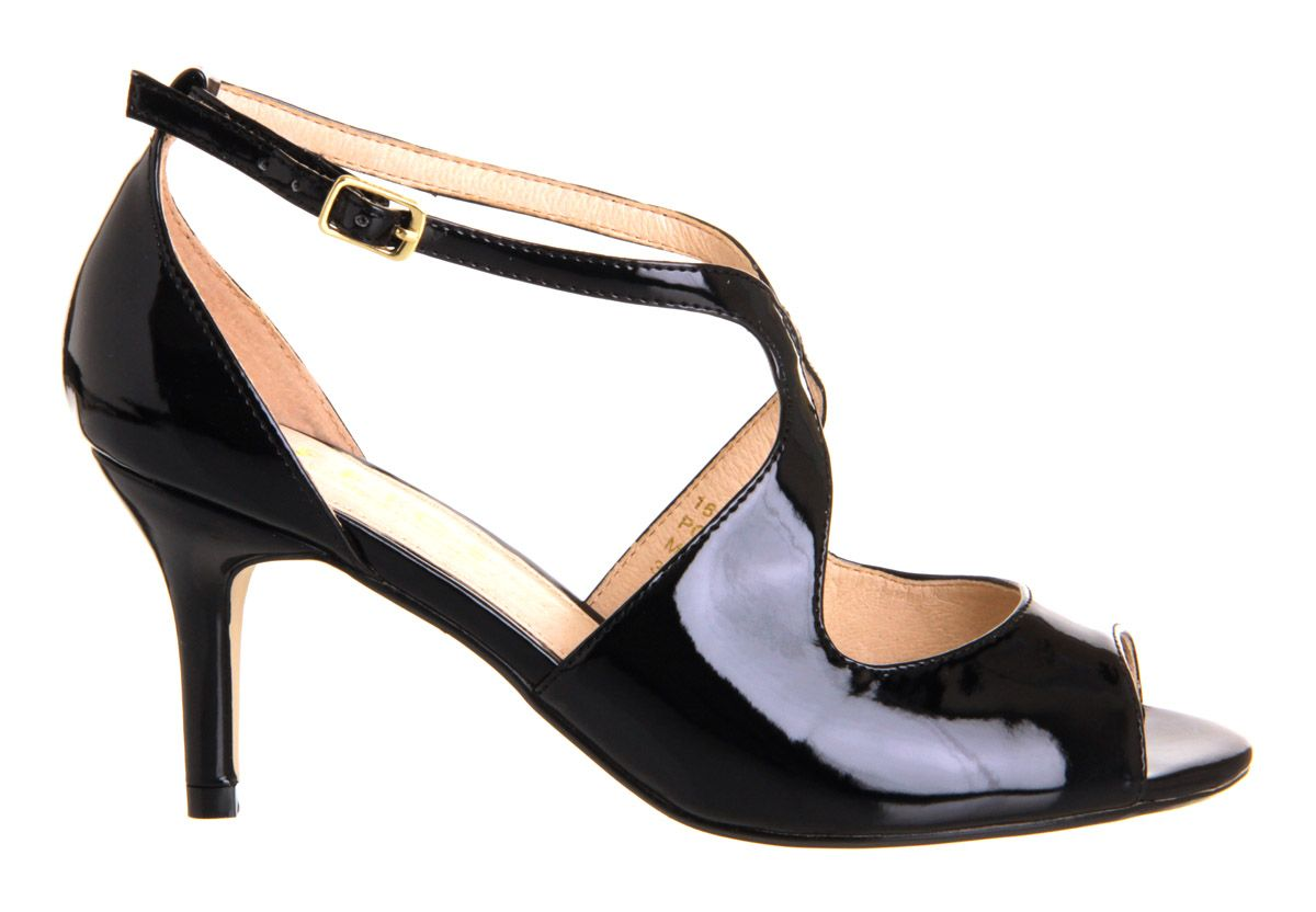 Dame peeptoe stiletto buckle court shoes