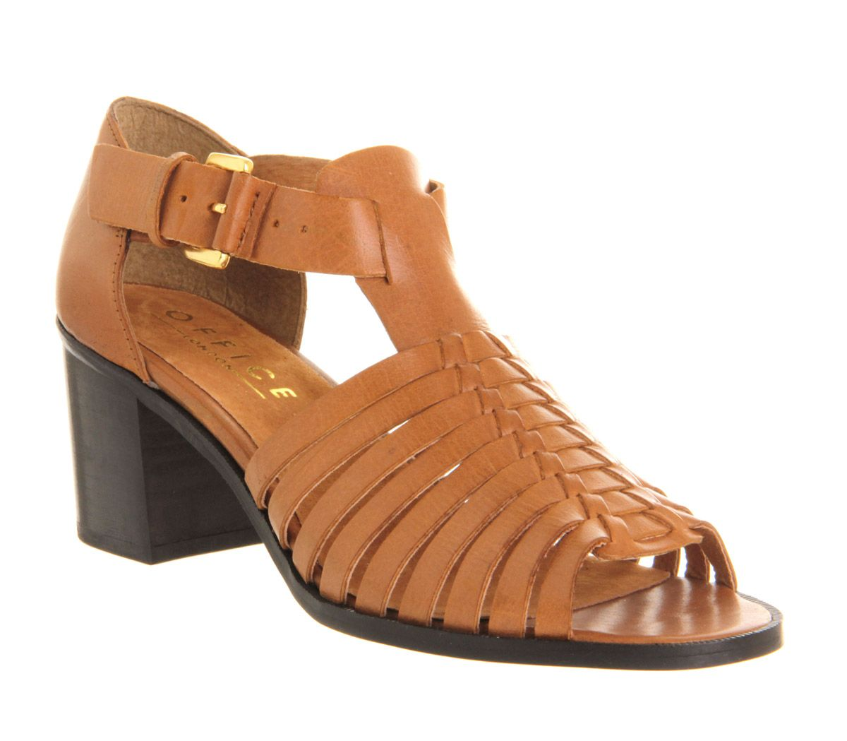 Dahlia weave leather open toe block heel sandals