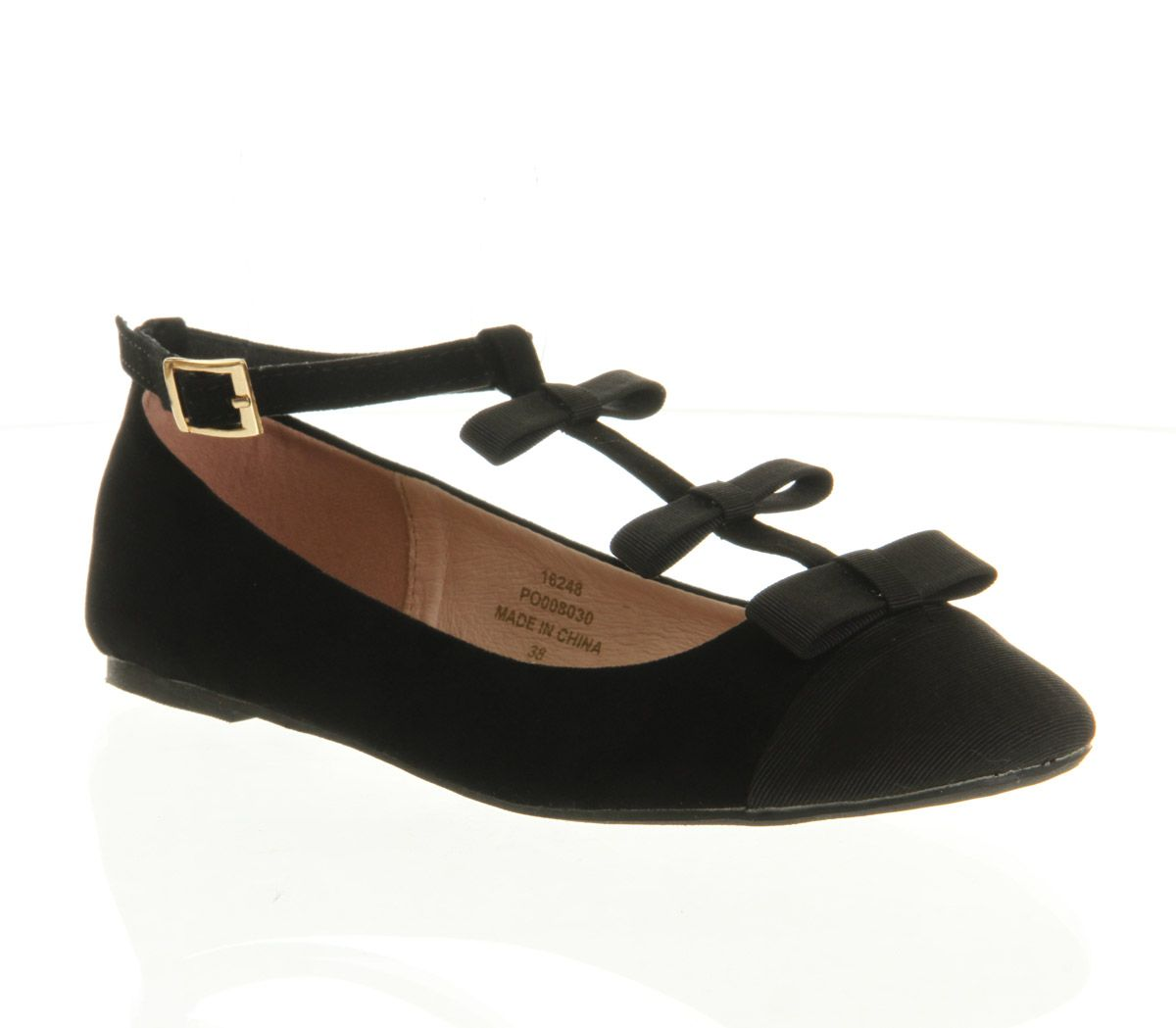 Karla t-bar round toe flat buckle ballerina shoes