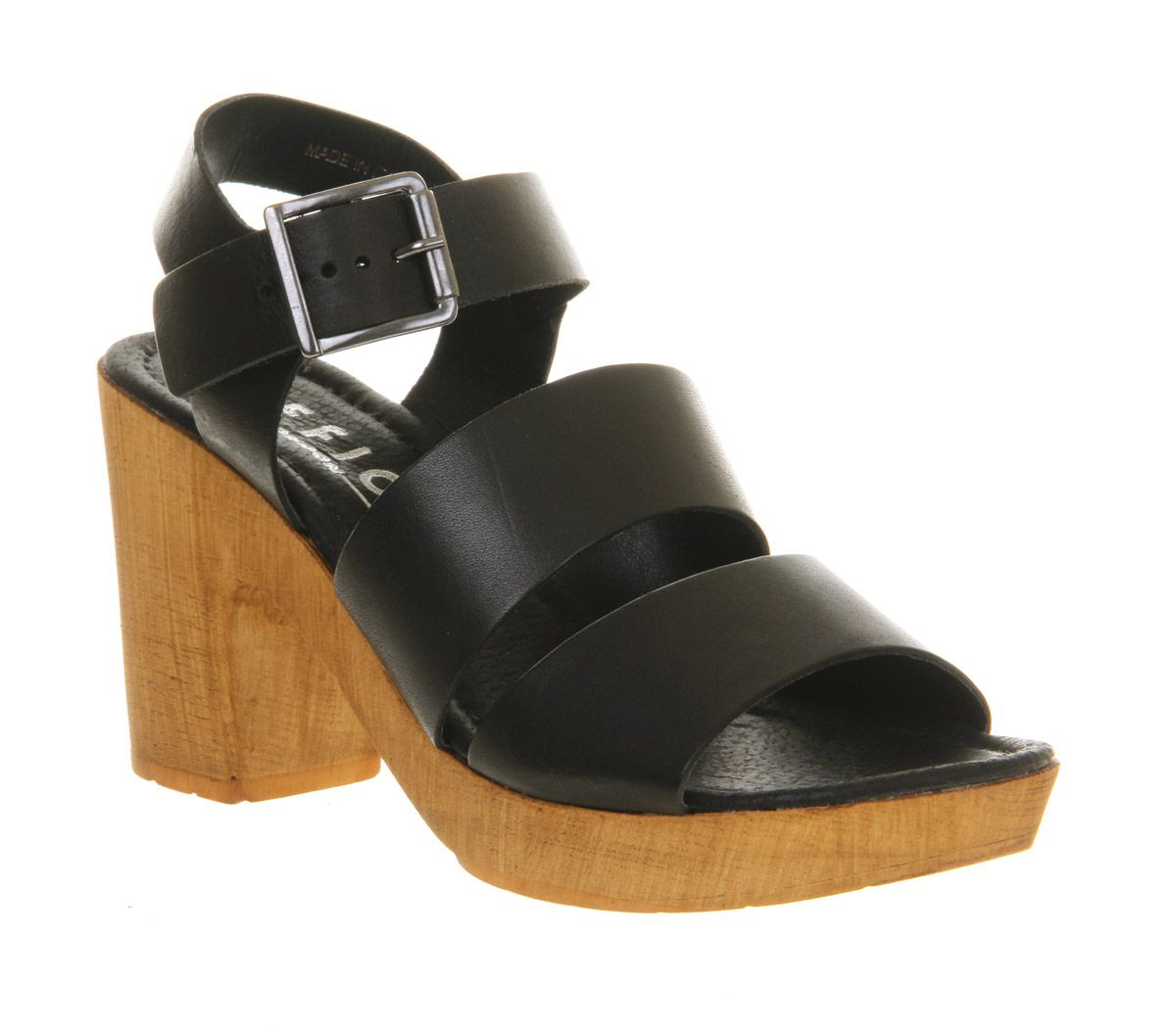 Deer leather open toe wedge mid heel sandals