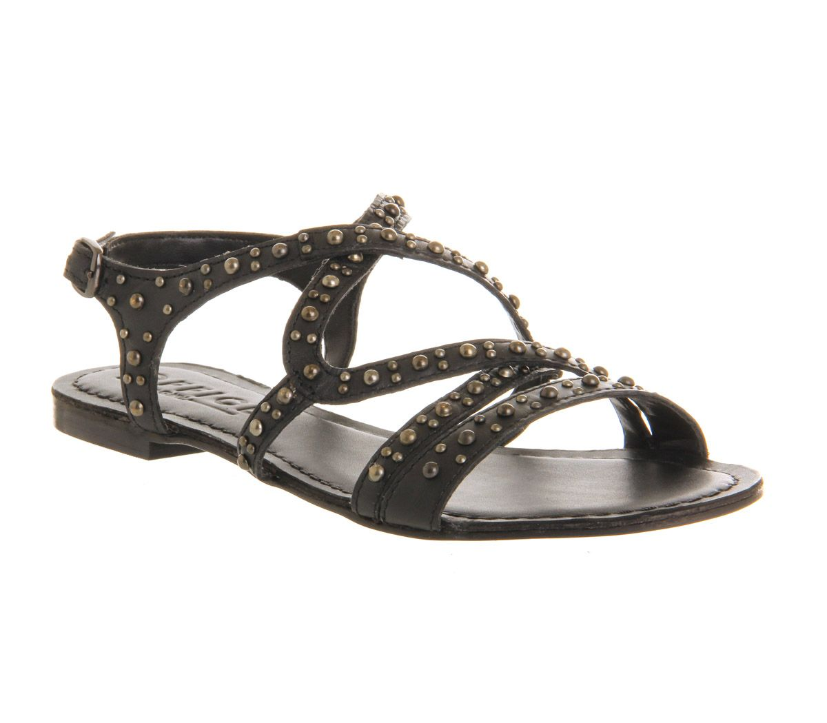 Hypnotise stud leather open toe flat sandals