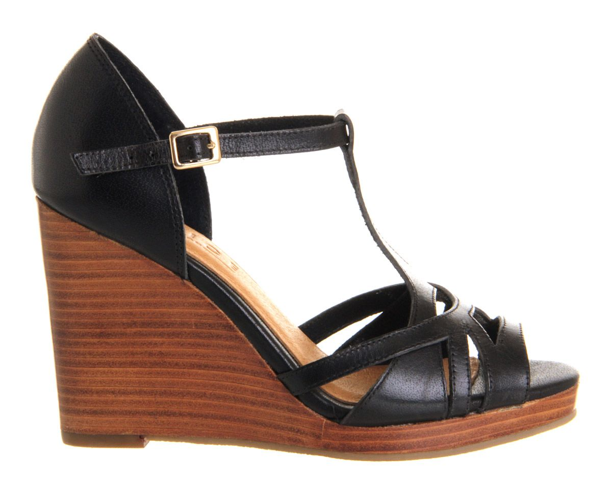 Derby leather open toe wedge buckle shoes