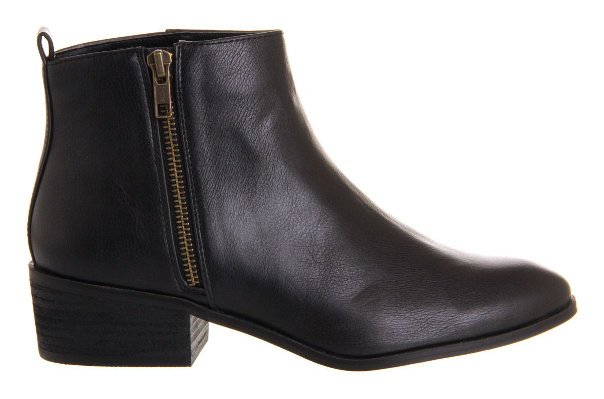 Marvin side zip round toe flat ankle boots