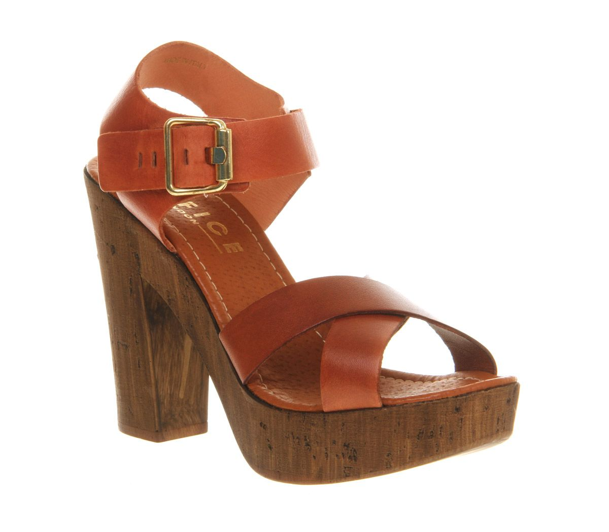 Jamaica wood leather open toe platform sandals