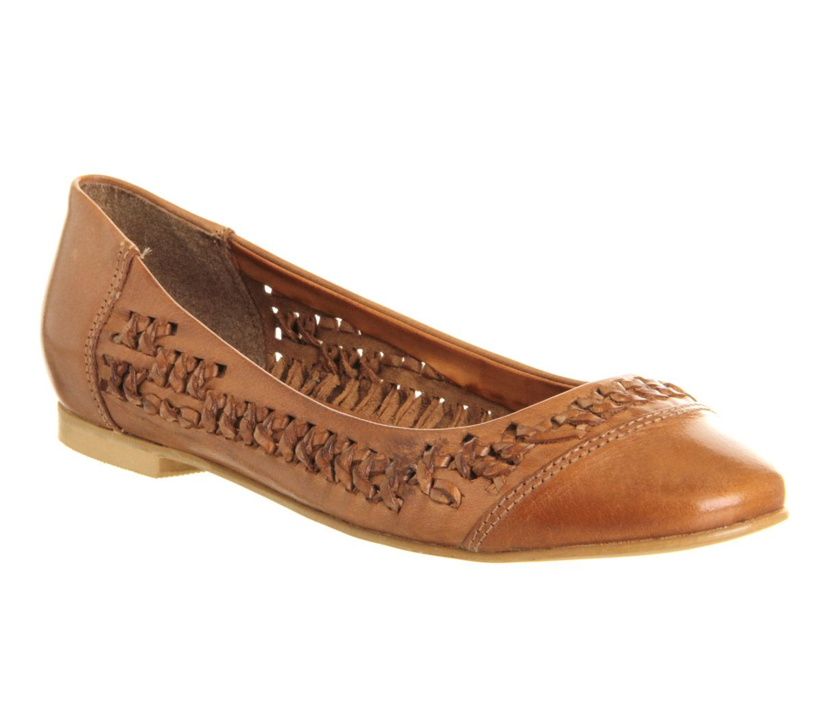 Komplacent weave leather pointed flat shoes