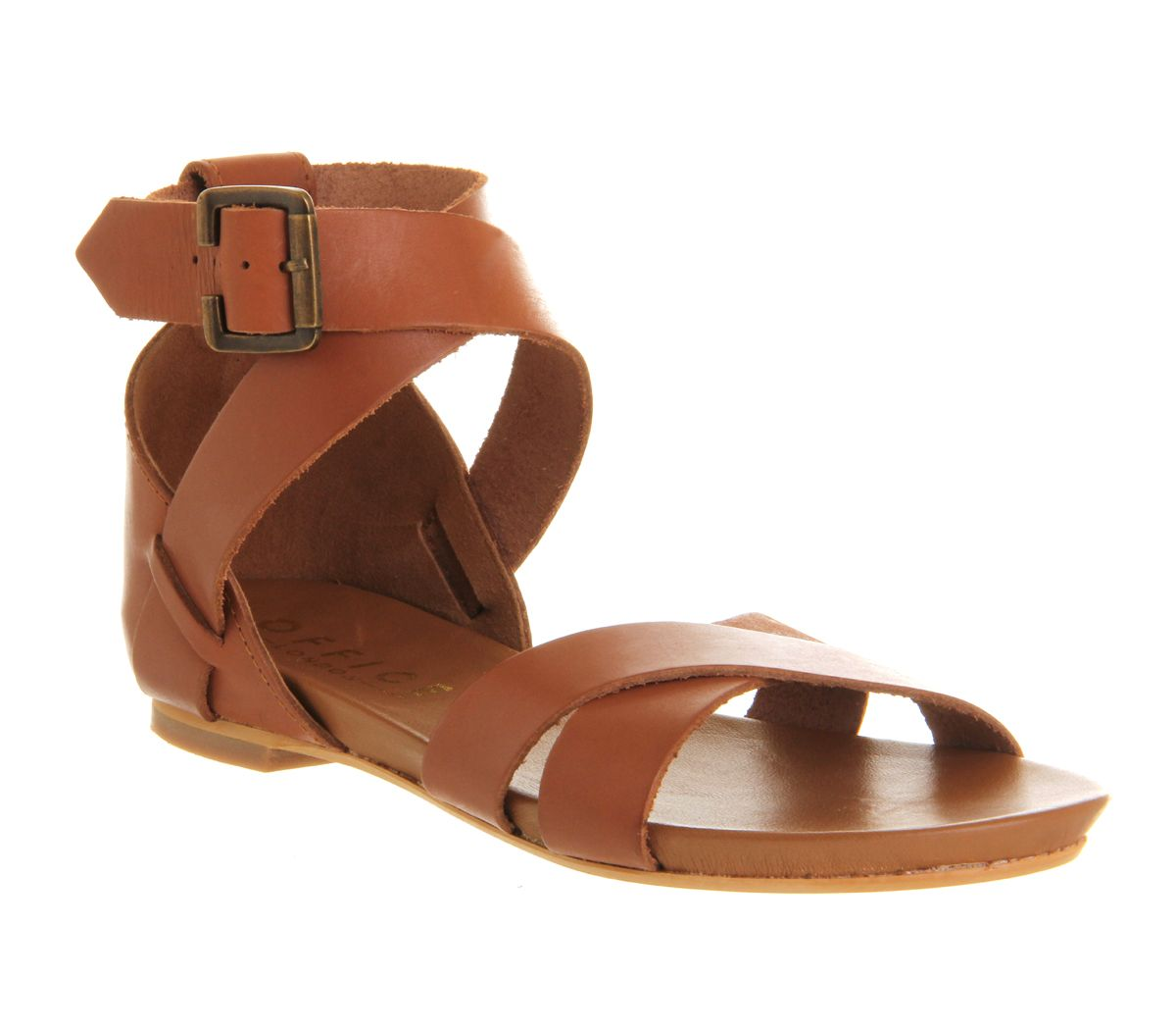 Headstrong cross strap leather flat sandals