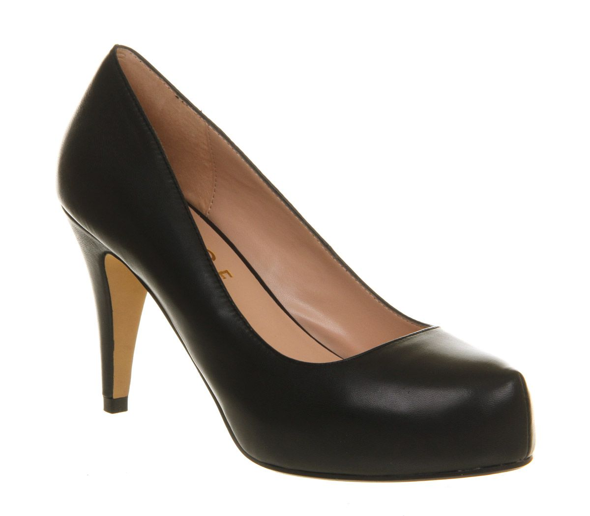 Daphne leather mid heel platform court shoes
