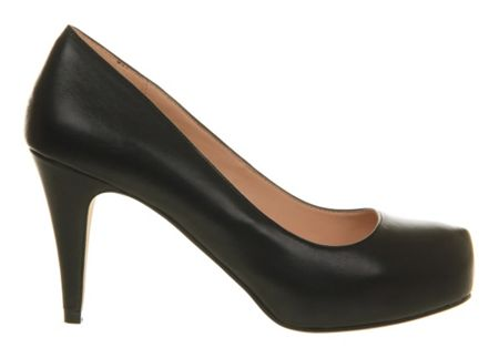 Office Daphne leather mid heel platform court shoes