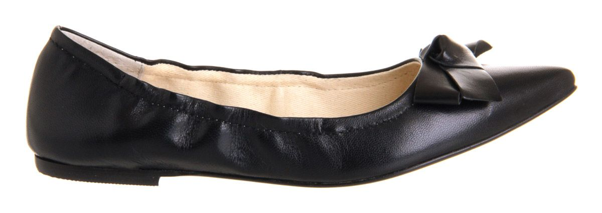 Kensington bow leather flat slip on shoes