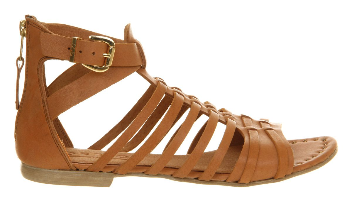 Histeria leather open toe buckle flat sandals