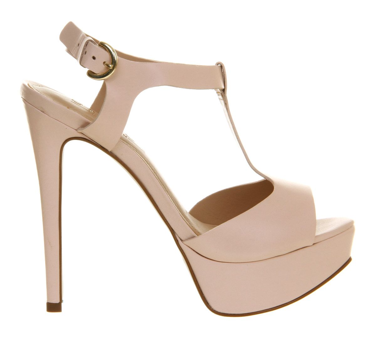 Justice leather open toe buckle platform sandals