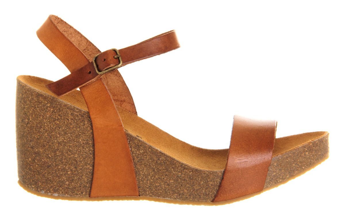 Davinia footbed leather wedge buckle sandals