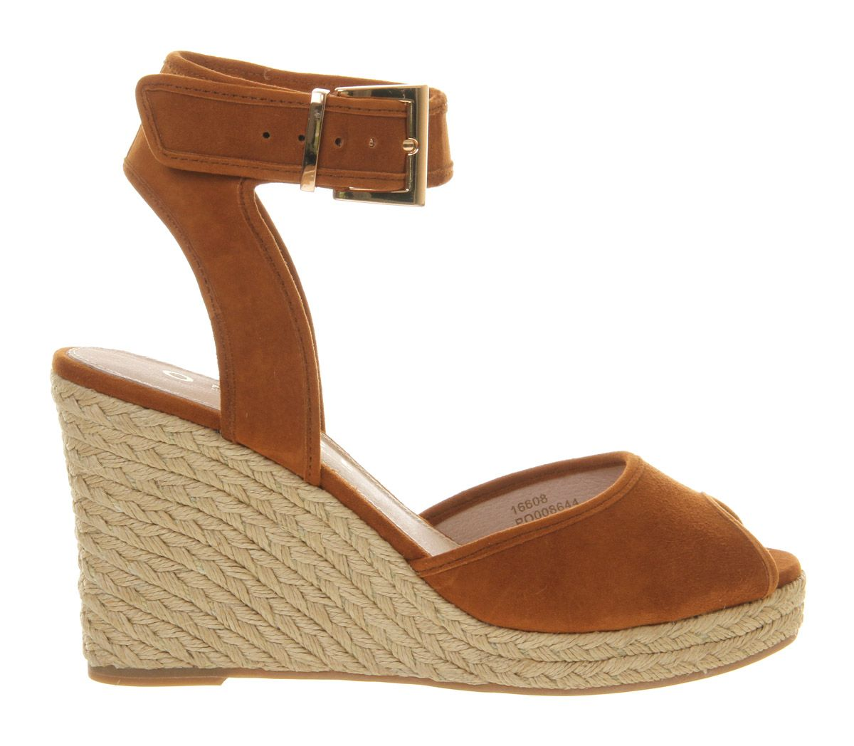 Dark horse leather peep toe wedge espadrilles