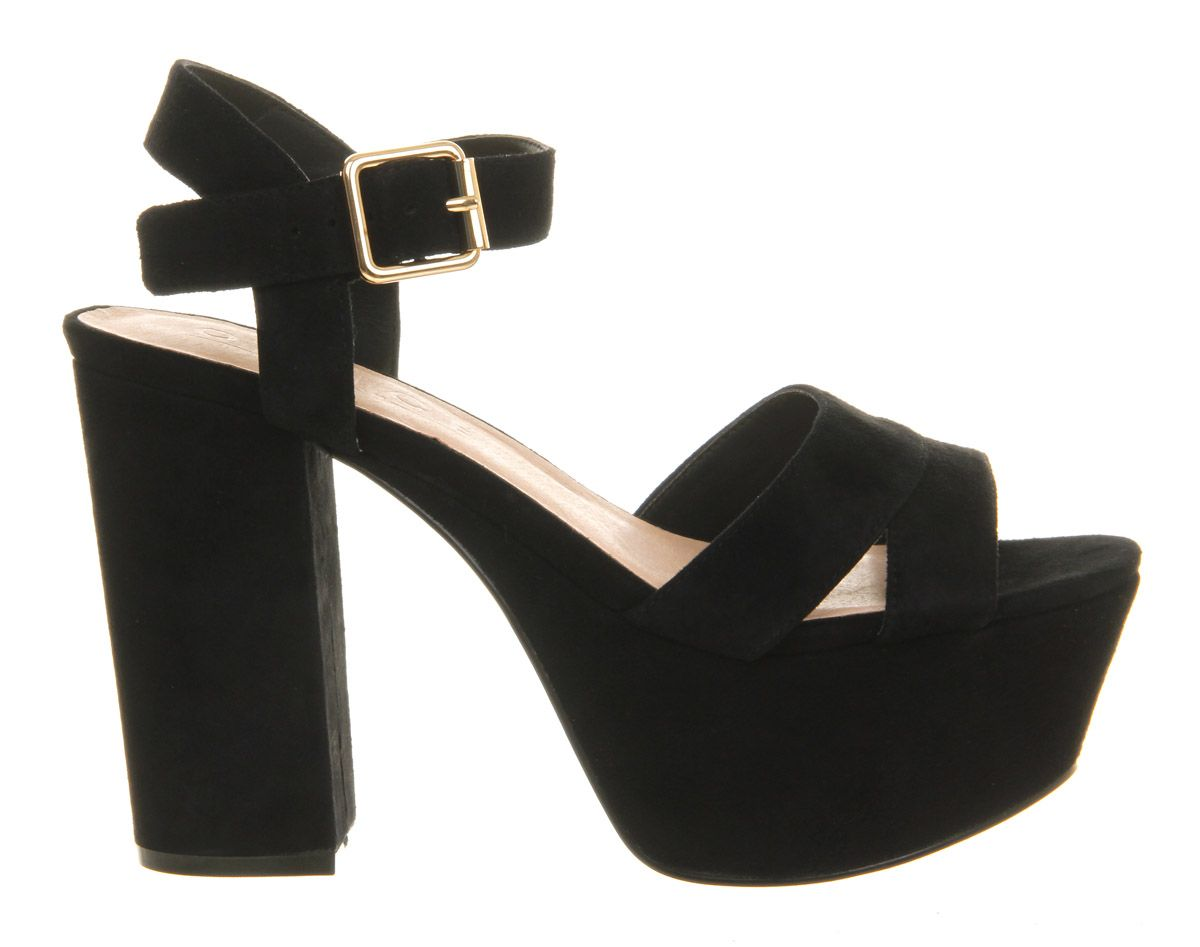 Jargon suede open toe buckle platform sandals