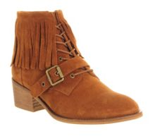 Domino fringe lace up boots