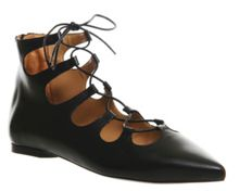 Launched lace up ghillie pointed flats