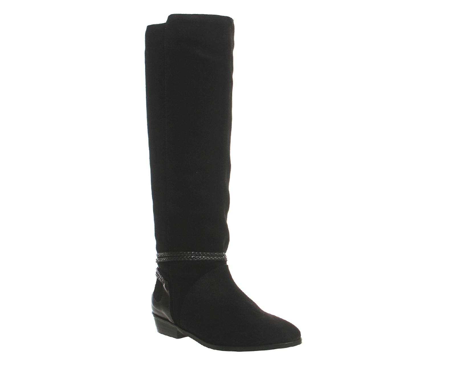 Office Escape slouch knee boots Black Suede