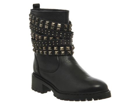 Office Ignition stud biker boots