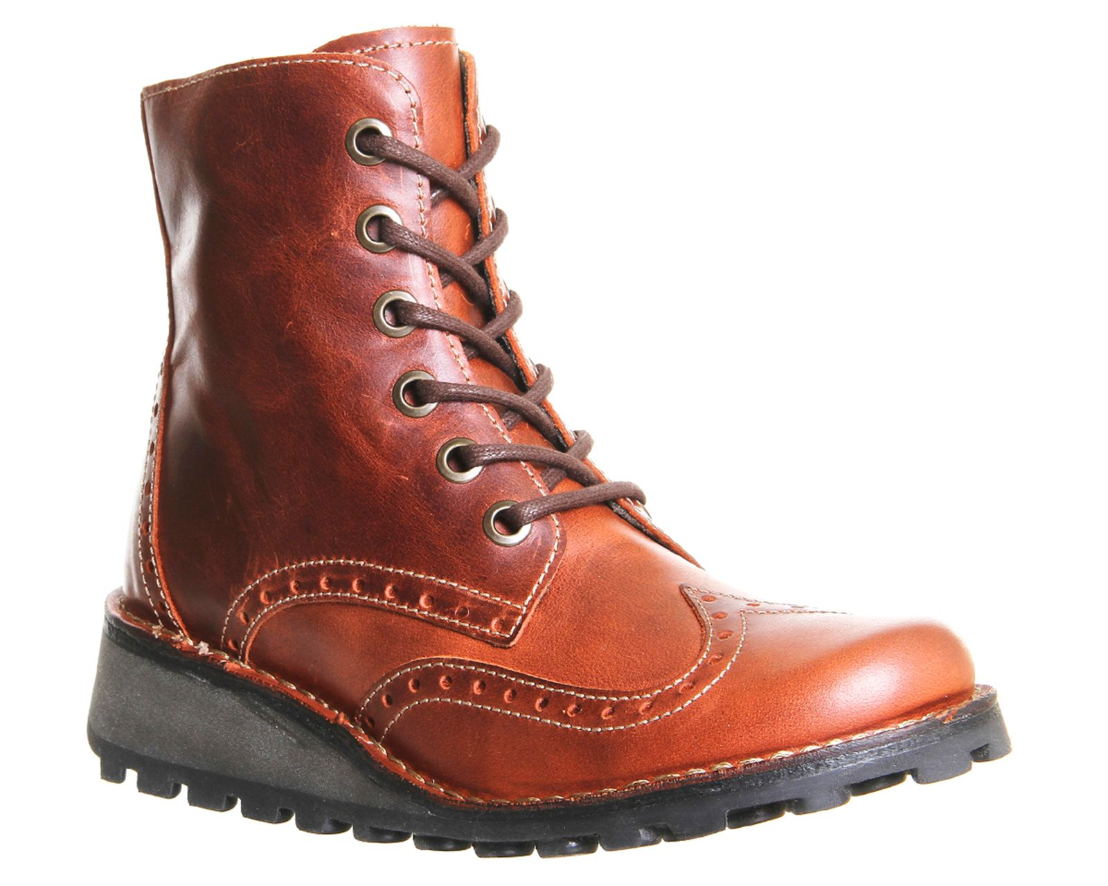 Fly Fly Marl lace up boots, Brick
