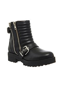 Impact buckle biker ankle boots