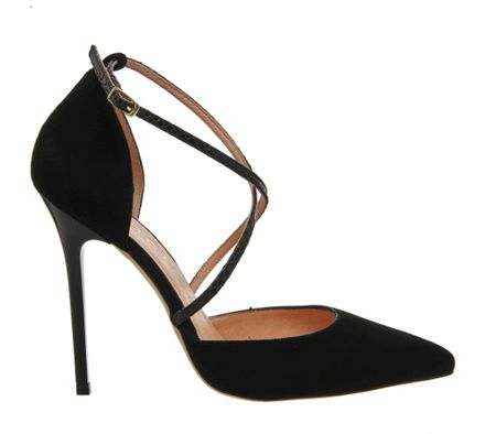 Office Trapped strap point court heels