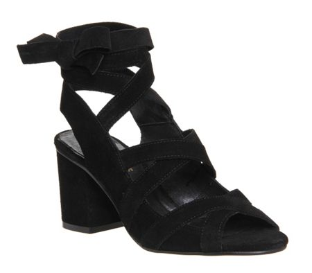 Office Meander lace up block heels