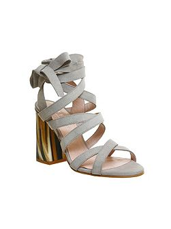 Ashley tie ankle strap heeled sandals