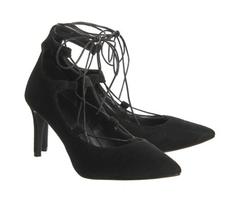 Office Focus lace up point mid heels